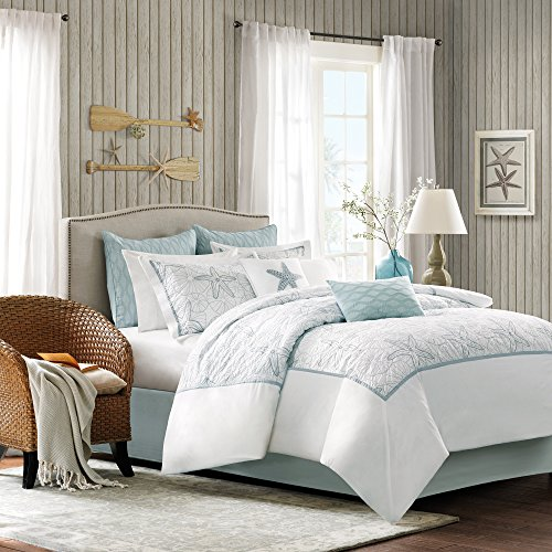 Maya Bay Cotton Embroidered Oversized Comforter Set, Queen, White ()