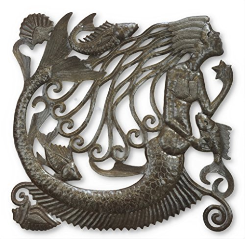 Mermaid Wall Hanging Metal Art, Ocean Themed Home Decor, 17