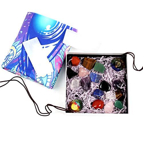 Yunoun 8 Chakra Stones Healing Crystals and 8 Natural Rough Raw Stone, Meditation, Reiki,Chakra Crystal Set