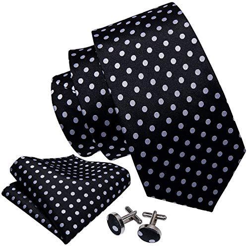 (Barry.Wang Black White Ties for Men Dots Fashion Men Handkerchief Cufflink)