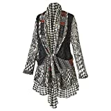 CATALOG CLASSICS Women's Cardigan - Houndstooth And Lace Mix-Up Sweater - Medium