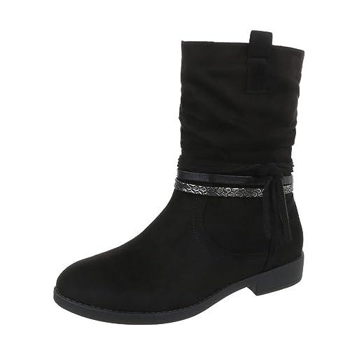 Ital-Design Zapatos para Mujer Botas Tacón Ancho Botines clásicos: Amazon.es: Zapatos y complementos