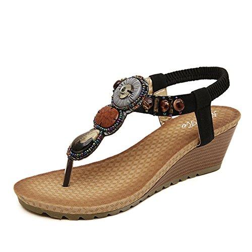 Chfso Kvinna Bohemisk Flip Flops Sandaler Kilar Skor Med Pärlstav Svart