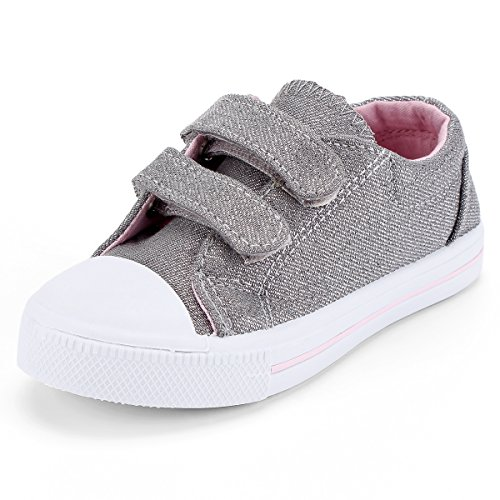 - KomForme Toddler Sneakers for Boys and Girls Silver, 10 M US Toddler
