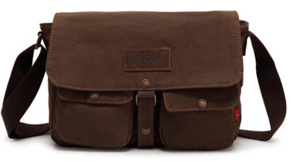 Genda 2Archer Vintage Canvas Crossbody Bag Travel Satchel Leisure Bag Coffee