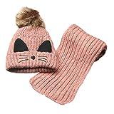 Baby Boys Girls Winter Warm Knitting BallHat+Scarf Sets (Pink)