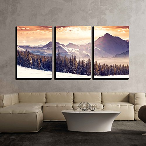 wall26 - 3 Piece Canvas Wall Art - Fantastic Evening Winter Landscape. Dramatic Overcast Sky. Creative Collage. Beauty World. - Modern Home Decor Stretched and Framed Ready to Hang - 16
