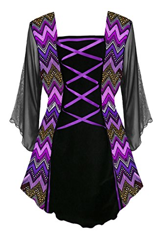 Dare To Wear Victorian Gothic Boho Women's Plus Size Mandarin Corset Top Purple Wave 5x -