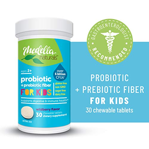Medella Naturals Probiotics + Prebiotic for Kids, 6 Billion CFUs to Support Digestive and Immune Health, Made in The USA, Wildberry Flavor, 30 Chewable Tablets