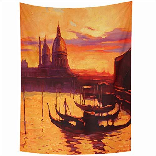 (Ahawoso Tapestry 60x90 Inch Promenade Pier Gondola Holiday Venice Canvas Ancient Boat Calmness Wall Hanging Home Decor for Living Room Bedroom Dorm)