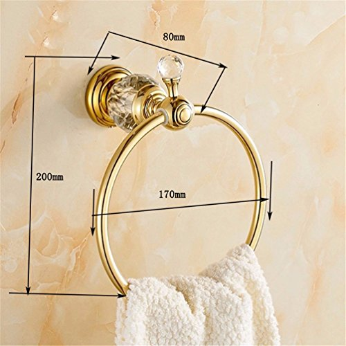 Brass Plated Ring Gold (LAONA The Brass gold plated crystal bath hardware hang on towel rack double bar toilet paper holder Toilet brush, Towel Ring)
