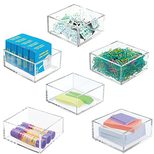 mDesign Plastic Stackable Drawer Organizer for Home Office, Desk Drawer, Shelf or Closet to Hold Staples, Highlighters, Adhesive Tape, Paper Clips, Stamps - 4 Square, 6 Pack - Clear