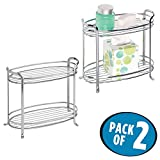 mDesign Free Standing Bathroom Storage Shelves for Towels, Soap, Candles, Tissues, Lotion, Accessories - Pack of 2, 2 Tiers, Chrome
