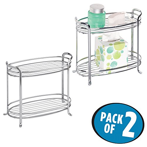 mDesign Free Standing Bathroom Storage Shelves for Towels, Soap, Candles, Tissues, Lotion, Accessories - Pack of 2, 2 Tiers, Chrome by mDesign