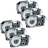 GREENCYCLE 6 Pack Compatible Casio XR-12WE Black on White Label Tape 1/2''(12mm) x 26' (8m) for KL-60 KL-60SR KL-C500 KL-100 KL-120 KL750KR Label Printer
