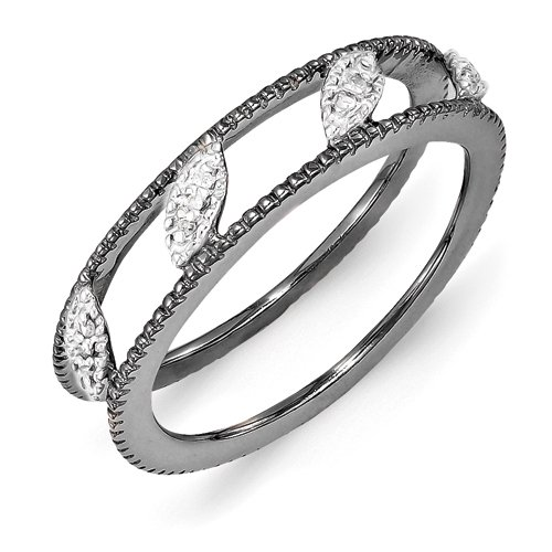 4.75mm Sterling Silver Polished Prong set Stackable Expressions Ruthenium-plated Diamond Jacket Ring - Size 8