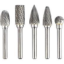 KOTVTM 5Pcs 12MM Head Tungsten Carbide Rotary Burr Set Die Grinder Bit 1/4-Inch Shank Grinder Drill File Rotary Burrs Cutting Burs Metal Polishing