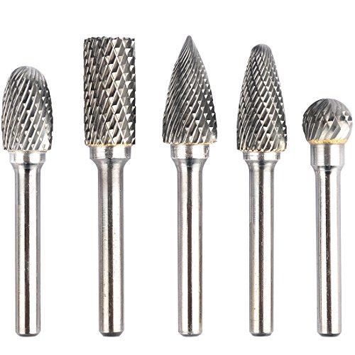 (KOTVTM 5Pcs 12MM Head Tungsten Carbide Rotary Burr Set Die Grinder Bit 1/4-Inch Shank Grinder Drill File Rotary Burrs Cutting Burs Metal)