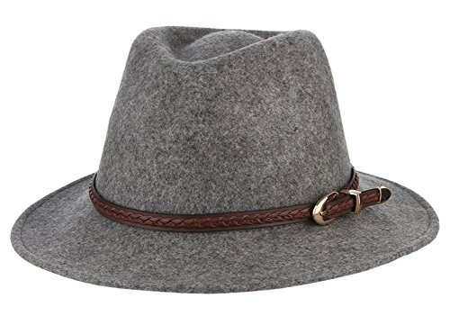 Mobster Wives Costumes (Gemvie Women's Wool Felt Dent Fedora Trilby Panama Hat Belt Buckle Band Gray)