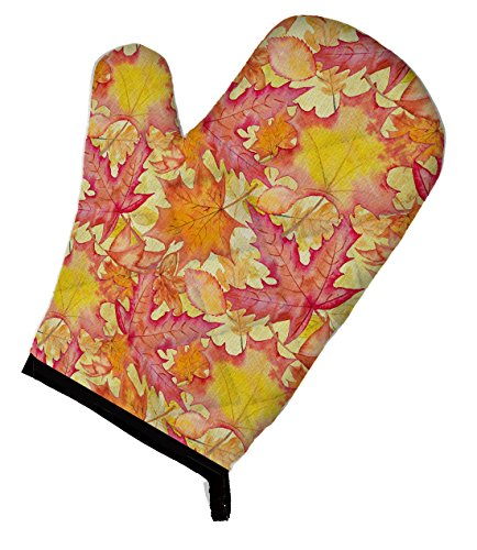 Caroline's Treasures BB7498OVMT Fall Leaves Watercolor Red Decorated Oven Mitt 12