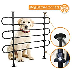 SUKI&SAMI Dog Barrier for SUV Cars Heavy Duty Pet Barrier for Large Dogs, Adjustable Black Car Pet Barrier for Cargo Area, Rubber, Plastic and Metal 16