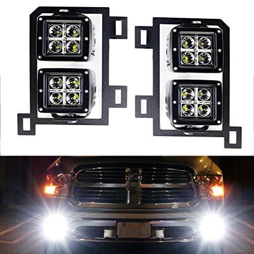 iJDMTOY Dual LED Pod Light Fog Lamp Kit For 2013-18 Dodge RAM 1500, Includes (4) 20W High Power CREE LED Cubes, Foglight Location Mounting Brackets & Wiring/Adapter Harnesses (2018 Ram 1500 Led Fog Lights)