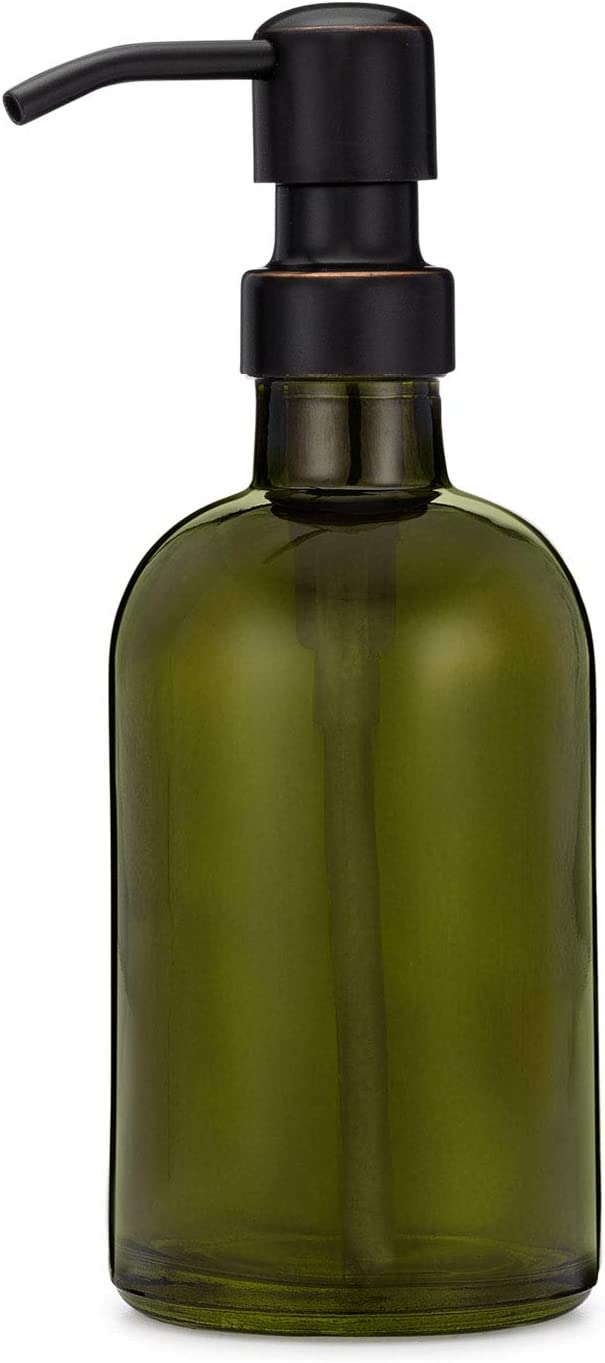 Rail19 Forest Green Glass Lotion Soap Dispenser with Metal Pump (Farmhouse Bronze)