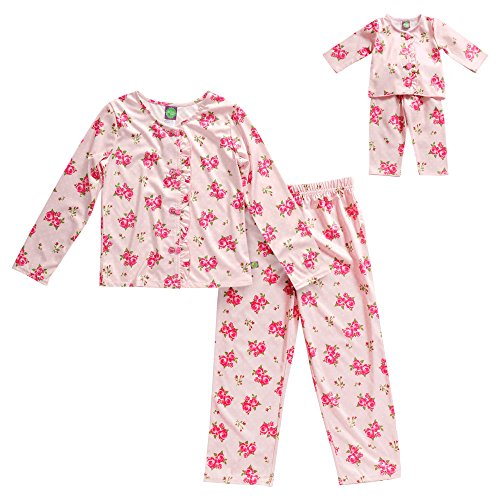 Dollie & Me Little Girls' Rose Pretty Sleepwear Pant Set, Pink, 5 (Pretty Girl Outfits)