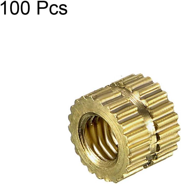 OD L x 3.5mm 100 pz Dadi zigrinati in ottone con inserto filettato sourcing map M2 x 5mm
