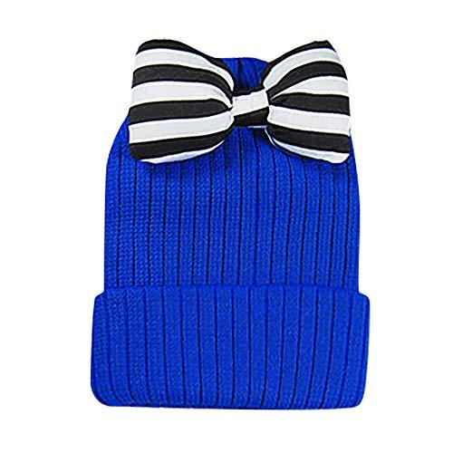 Little Girl Winter Warm Hat,Jchen(TM) Unisex Toddler Baby Boys Girls Winter Keep Warm Stripe Bow Knitting Headgear Warm Kids Hat Cap for 0-5 Y (Blue)