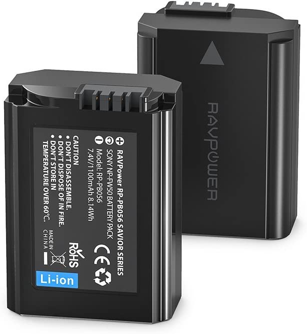 2X Batería NP-FW50 de RAVPower 1100mAh x 2 Entrada USB 2,1A, 100% Compatible con el Original para Sony NEX-3 | NEX-3A | NEX-3D/3K | NEX-5 | NEX-5A | NEX-5D | NEX-5H | NEX-5K | NEX-6 | NEX-7