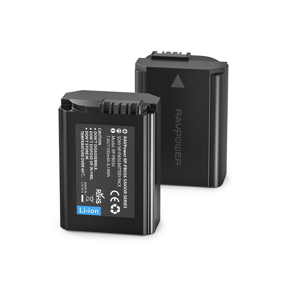 TALLA FW50 X 2. 2X Batería NP-FW50 de RAVPower 1100mAh x 2 Entrada USB 2,1A, 100% Compatible con el Original para Sony NEX-3 | NEX-3A | NEX-3D/3K | NEX-5 | NEX-5A | NEX-5D | NEX-5H | NEX-5K | NEX-6 | NEX-7