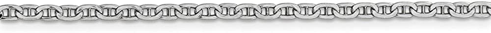 14k White Gold 2.40mm Semi-Solid Anchor Chain Necklace