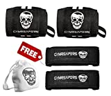 Wrist Wraps (18' Pair) with Lifting Straps & Chalk Ball (Bundle), Heavy Duty Wrist Support w/ Thumb Loop, Pair of Wrist Wraps, Wrist Straps and Refillable Chalk Ball for Weight Training (Black/White)