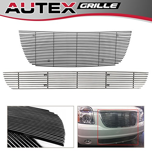 AUTEX Polished Billet Grille Insert Combo Compatible With GMC Yukon 2007 2008 2009 2010 2011 2012 2013 Grill Insert Main Upper + Lower Bumper Grill G67851A