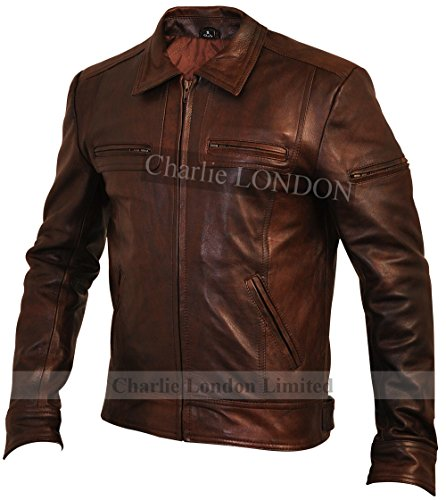 Giacca Pelle Lynch Uomo Vintage Marrone qwFxIR