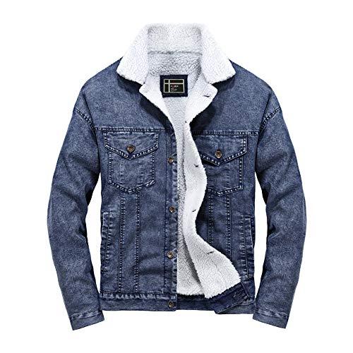Caopixx Jackets Men's Classic Button Front Rugged Sherpa Lined Denim Trucker Jacket Coat