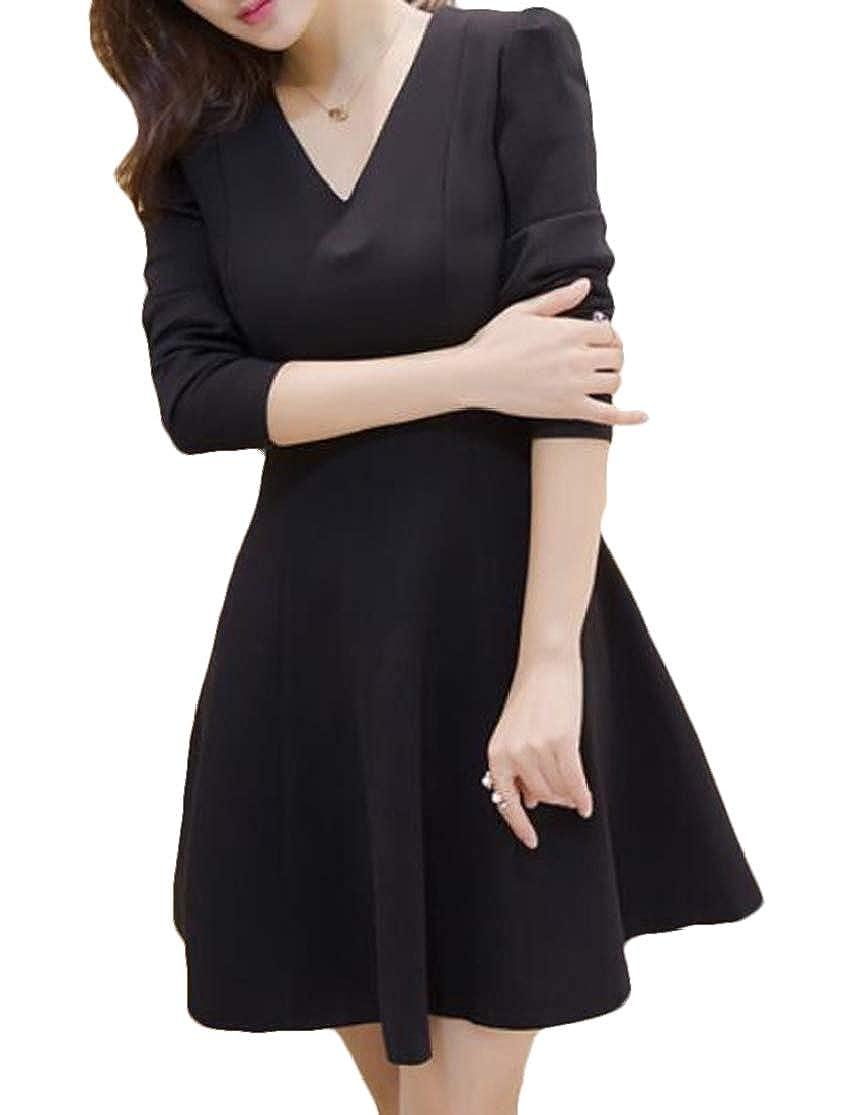 KLJR Women V Neck Swing Midi Tunic Elegant Pleated Long Sleeve Dresses