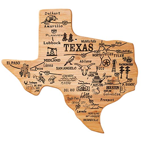 YOUIN Texas State Shaped Bamboo Serving and Cutting Board, Texas State Gifts for Home, Office Wall Art Decoration (Star Board Cutting)