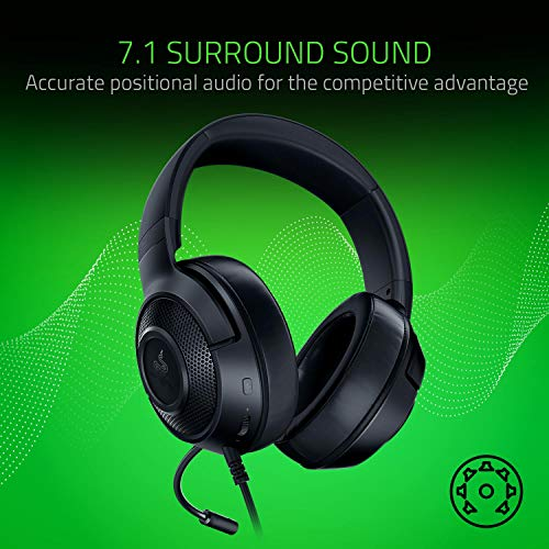 Razer Kraken Tournament Edition THX 7.1 Surround Sound Gaming Headset, Black & Kraken X Ultralight Gaming Headset: 7.1 Surround Sound - Lightweight Aluminum Frame - Bendable Cardioid Microphone, Black