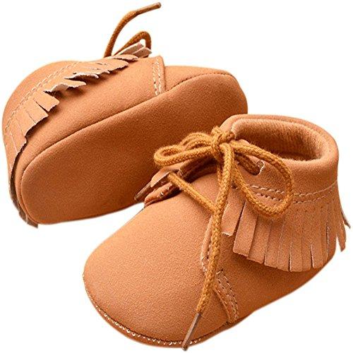 etrack-online bebé niños niñas Tassel Soft Sole zapatos de tipo Mocasín 2colores 3tamaño caqui Talla:12-18months caqui
