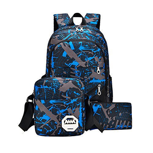 Pocciol Backpack, Girls Boys Rucksack 3PCS Shoulder Bookbags+Messenger Bag+ Handbag Waterproof Oxford Fabric (Blue) by Pocciol