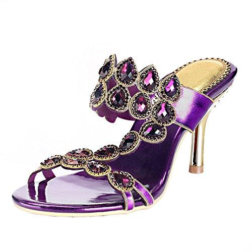 Pelle A 36 Strass Open Purple Sandali Viola Donna 40 Toe Zhang8 Mano Roma Vestito Alto Fatto Tacco EwA0qxntTR