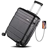 REYLEO Hardside Luggage 21 Inch Carry On Luggage 4-level Handle Travel Suitcase with Two USB Charging Port 8 Silent Spinner Wheels Built-in TSA Lock, LUG20C