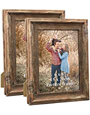 Dreamyard 2-Pack Picture Frames Set Wood Vintage Family Art Photo Frame for Tabletop Stand or Wall Hanging