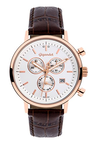 Gigandet Men's/Women's Quartz Watch Classico Chronograph Analog Leather Strap Rose Gold Brown G6-006