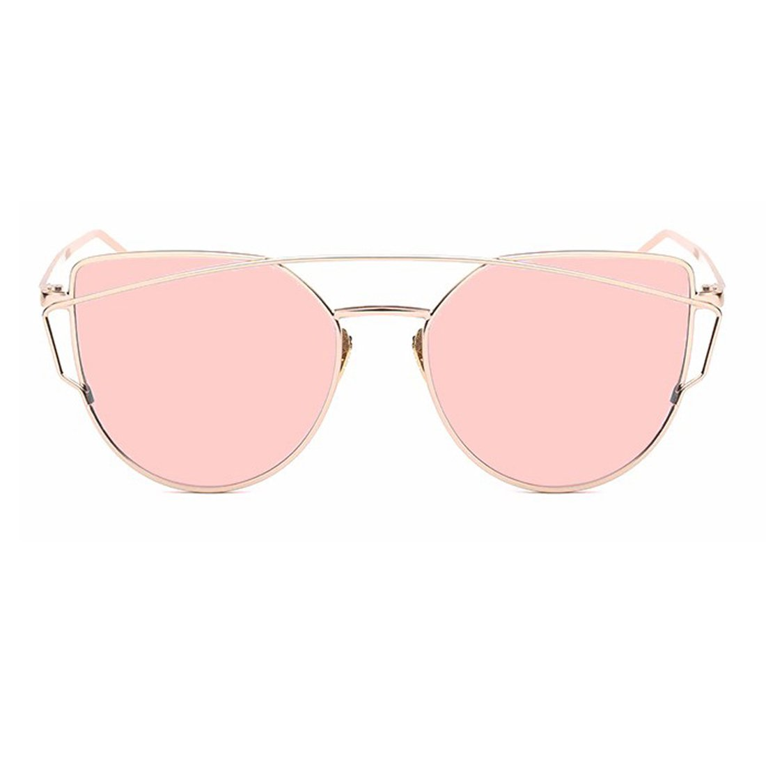 Mirrored Flat Lenses Fashion Metal Frame Women's Sunglasses