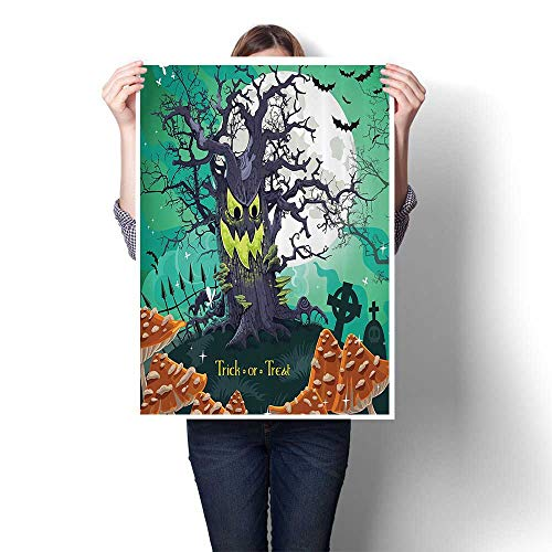 Oil Painting on Canvas Prints Trick or Treat Halloween Theme Dead Forest with Spooky Tree GravesMushrooms Wall Art,32