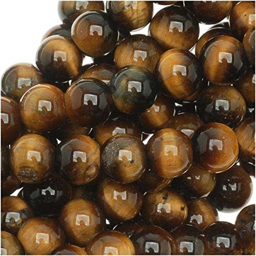 Beadaholique SPTI-06 Tigers Eye Gem Round Beads, Brown/Gold, 15.5