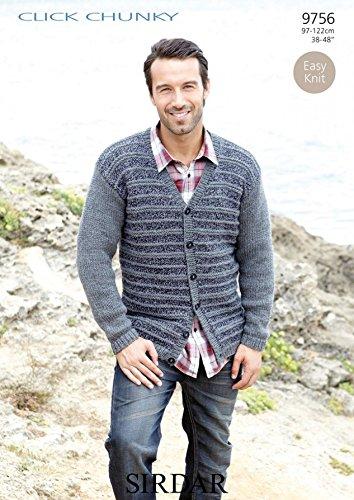 Sirdar Mens Cardigan Click Knitting Pattern 9756 Chunky ()